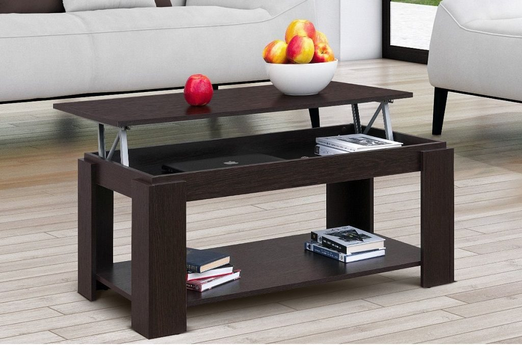 mesa centro elevable wengue con revistero